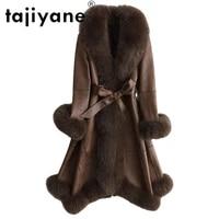 tajiyane winter coats women 2020 real fox fur collar jackets woman natural rabbit fur jacket womens long coat abrigos tn1426
