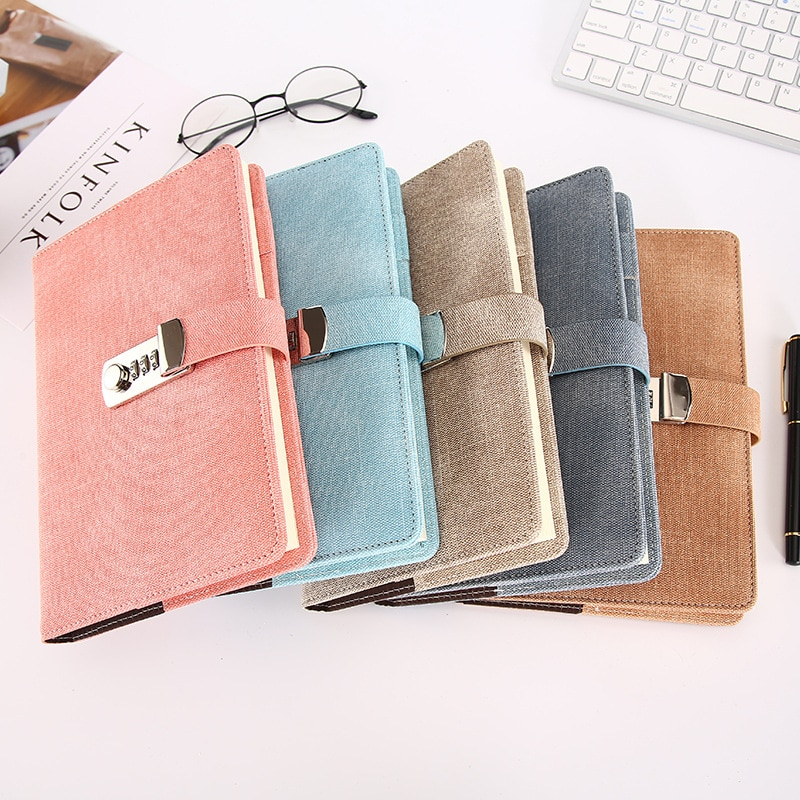 Agenda 2021 Notepad Leather The Books with Lock Soft Beautiful Password Office School Supplies Gift