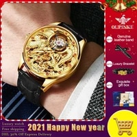 oupinke mens luxury automatic mechanical watches super brand waterproof gold dragon royal mechanical watches