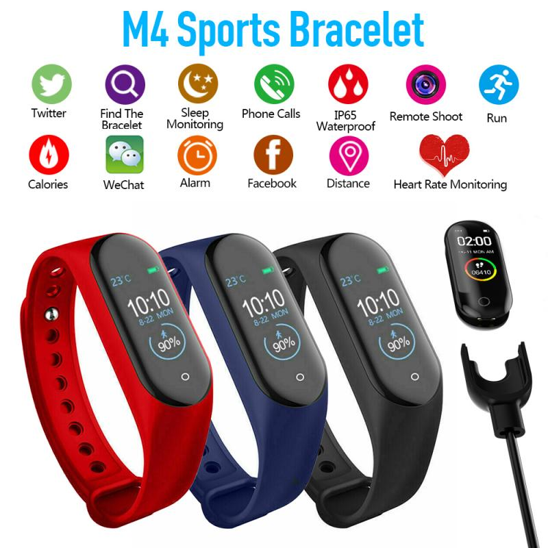 M4 Smart Bracelet Watch Bluetooth Call Information Push Heart Rate Step Exercise Ip67 Waterproof Wearable Devices Wristbands