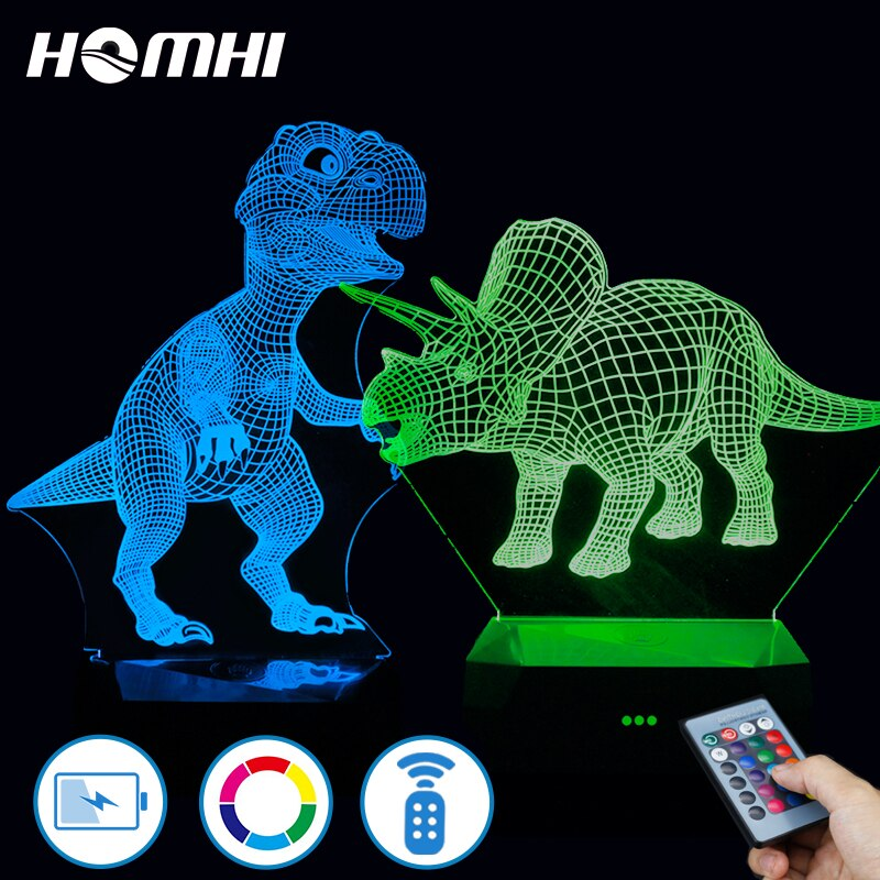 3d lámpara dinosaurio chambre veilleuse enfant 2019 lampka nocna ¿sypialni Triceratops dinosaurio de control remoto de lámpara recargable