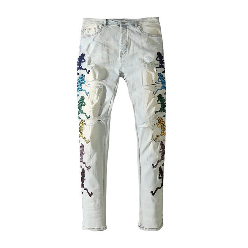 American Famous Brand AMR Skeleton Man Embroidery Washed Ripped Jeans Streetwear Techwear Men Trousers Traf Women's Pants