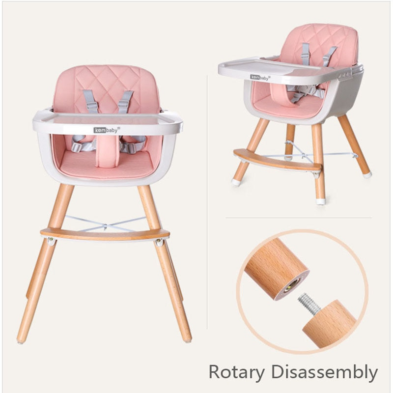 Babyinner Baby High Chair Kids Table and Chair Adjustable Height Dinner Table Multifunction Solid Wood Booster Seat enlarge