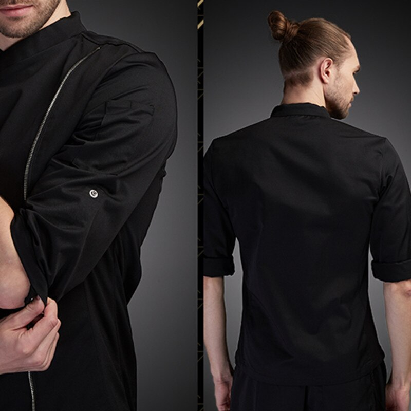 Cotton Long Sleeve Shirt Hotel Restaurant Chef Jacket Culinary Uniform Barista Bistro Baker Catering Kitchen Work Wear E47 enlarge