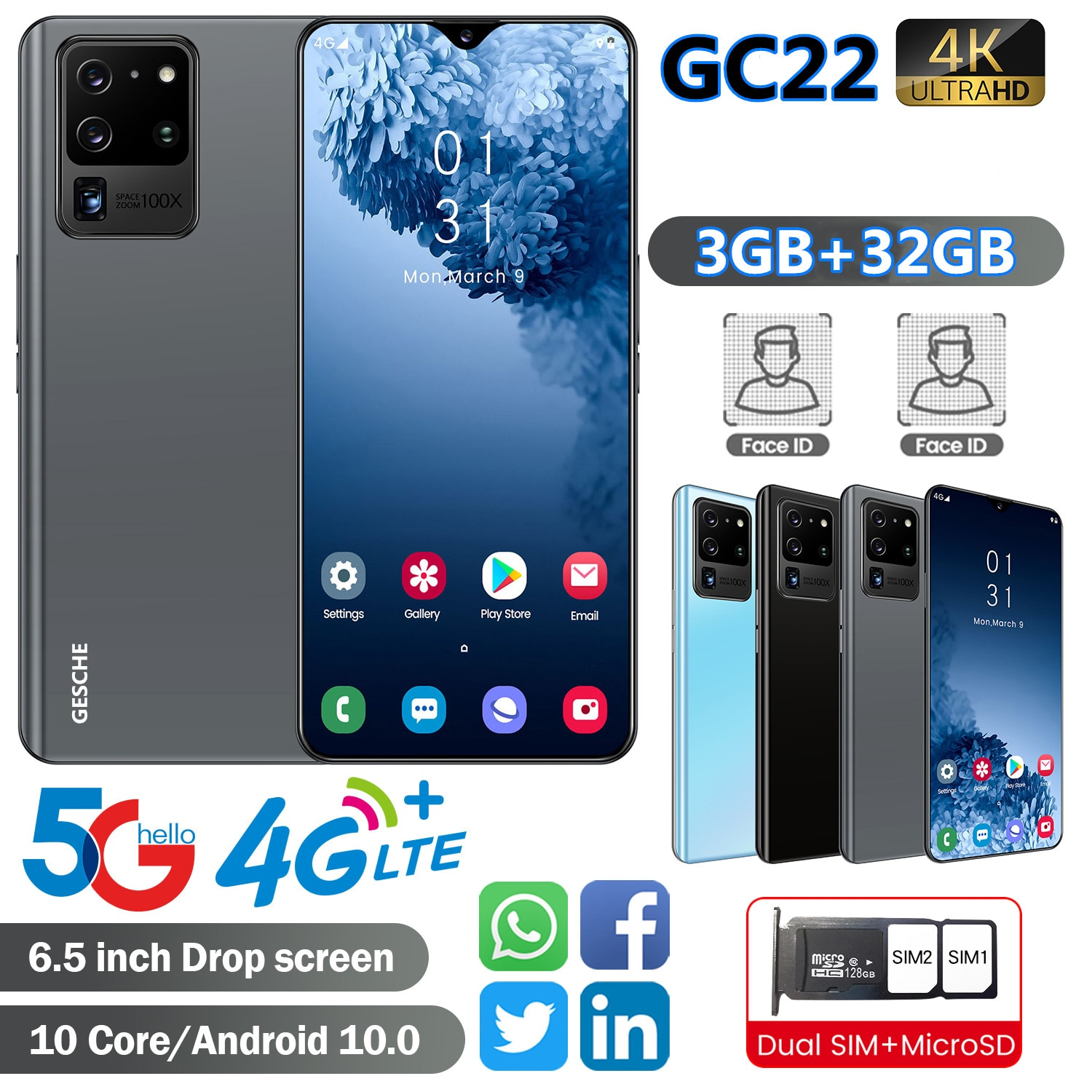 GESCHE GC22 Smartphone AI Camera 3GB+32GB Mobile Phones 4G LTE Celular 6.5 InchFace recognition 4200mAh Android 9 Cell Phone