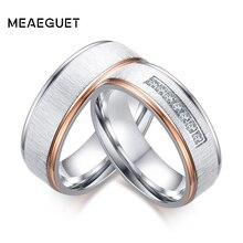 Meaeguet prata cor anéis de casamento zircônia cúbica amor promessa casais anéis conjunto aliança de aço inoxidável casamento banda