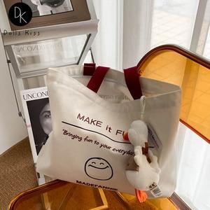 Female Canvas Bag Female Funny Smiling Face English Printed Handbag Ladies Eco-friendly Shoulder Bag Casual Tote Bag for Girls
