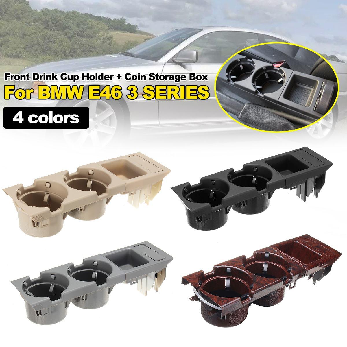 Caixa de armazenamento do console central dianteiro do veículo do carro do furo dobro moeda + suporte de copo para bmw série 3 e46 1999-2006 51168217957 5 cor