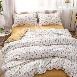 Estilo pastoral amarelo cama setflower padrão capa de edredão com fronha 200x230,210x210 quilt cover, king size cobertura