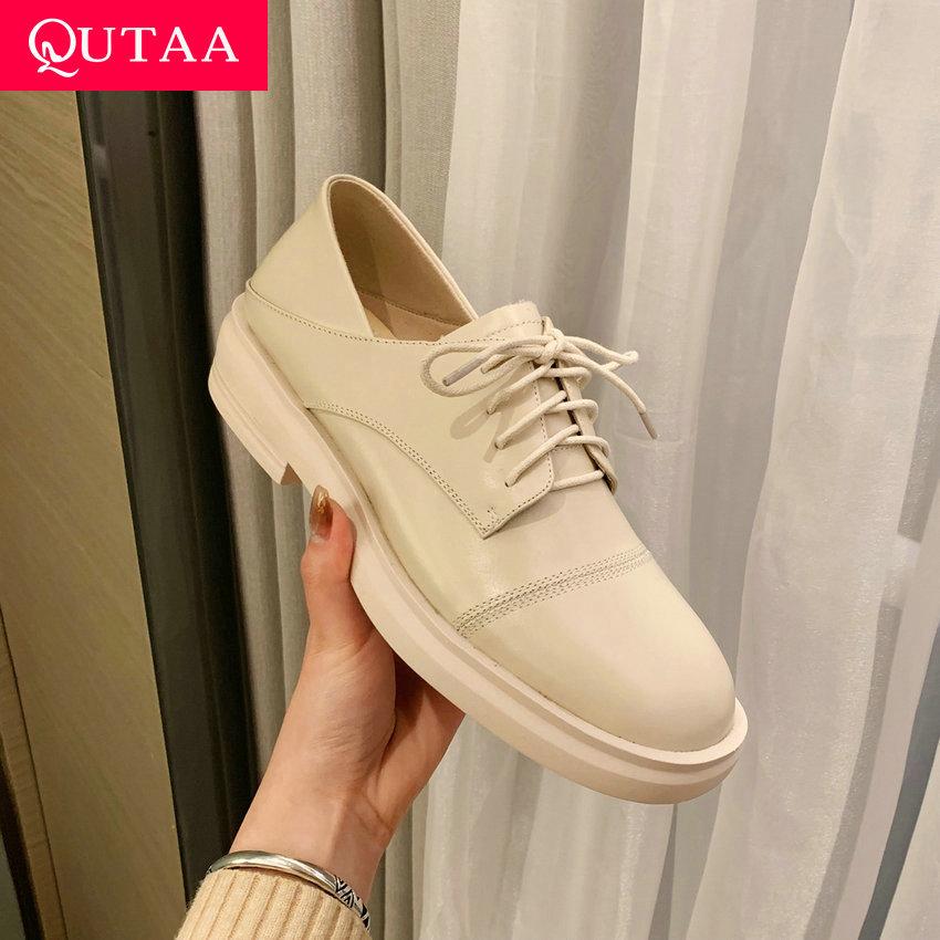 QUTAA 2021 الربيع الخريف كعب مربع عالية الجودة جلد طبيعي الدانتيل يصل الإناث مضخات جولة تو موجزة النساء أحذية حجم 34-40