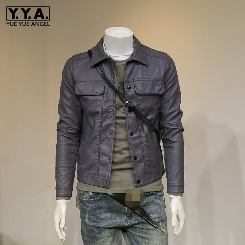 Men Casual Biker Jacket Autumn New Pockets Single Breasted Pu Leather Coat Street Slim Motorcycle Faux Leather Outerwear M-3XL