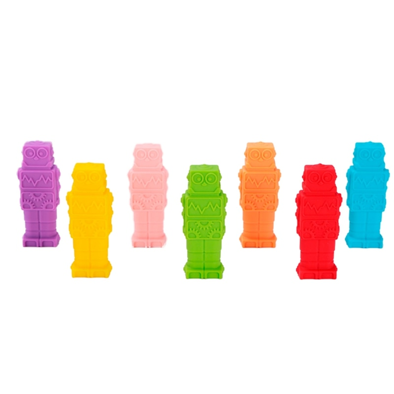 1 piezas sensorial masticar collar Robot masticable niños de silicona morder lápiz Topper juguete mordedor