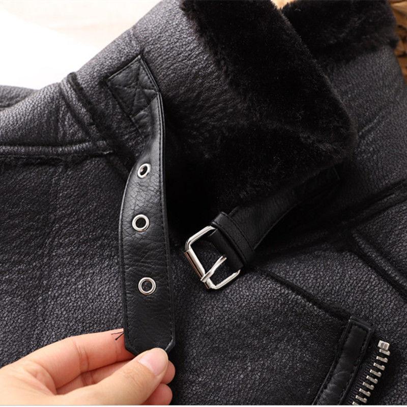Autumn Winter Women Sashes Pu Leather Coat Turn-Down Collar Zipper Warm Jacket Casual Imitation Fur Leather Jacket Outwear enlarge