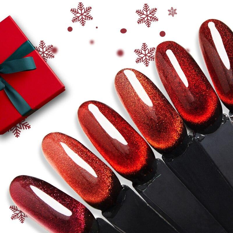 Bozlin 15ml Christmas Red & Christmas Cat Eye Gel Nail Polish Soak Off UV Chameleon 5D Gel Nails Art Design Need Black Base Coat