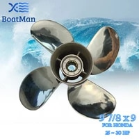 boatman%c2%ae 9 78x9 stainless steel propeller for honda 25hp 30hp outboard motor 4 blade engine boat accessories marine parts rh