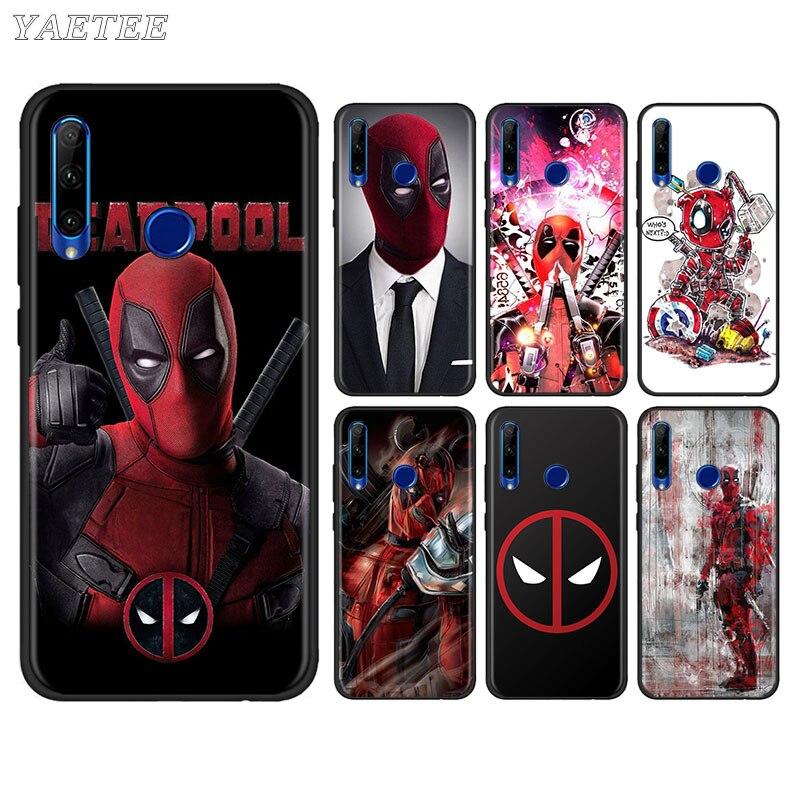 MARVEL Deadpool Black Phone Case for Huawei Honor 10i 10 20 Lite 20S 20e 30 Pro+ 8X 9X 8A 9A 9S 9C tpu Soft Cover Capa
