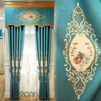 european high quality chenille green embroidered curtains for living room windows classic luxury elegant curtains for bedroom