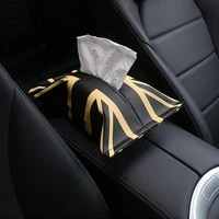 leather tissue box holder for car styling for cooper checkered gold unionjack cartoon tissue bag for min