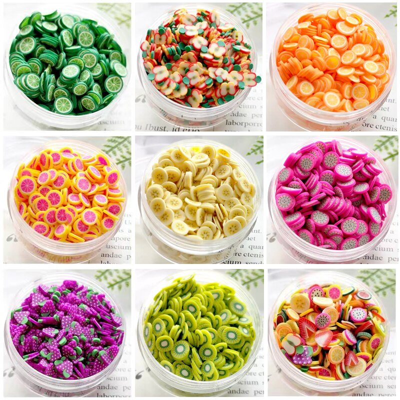 1000Pcs Fruit Additives For Slimes Supplies Filler Charms For Lizun Polymer Soft Clay Slime Accessories Glue Nail Art Decor Toys