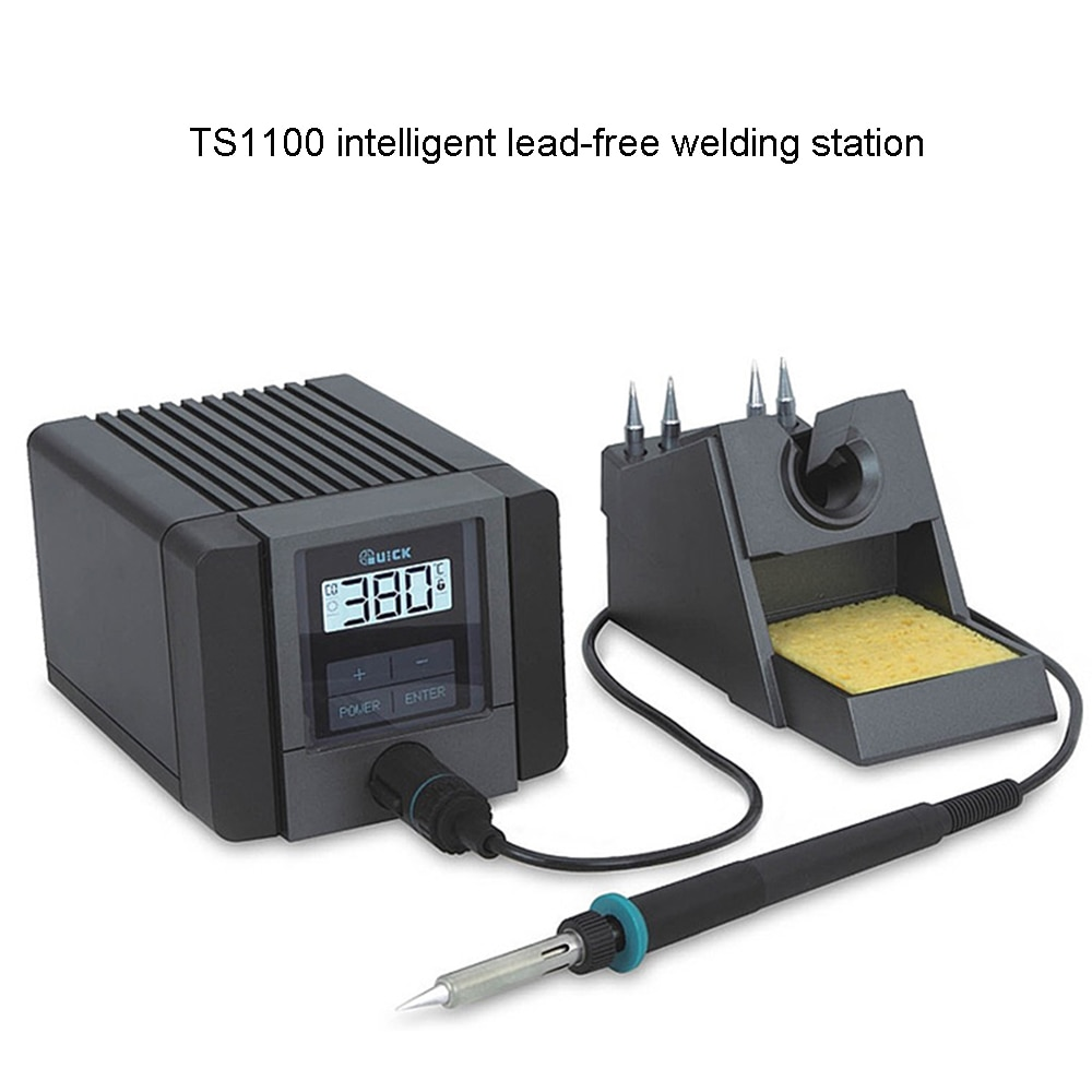 QUICK TS1100 Intelligent lead-free soldering station 90W electric soldering iron adjustable temperature constant antistatic adjustable temperature welding station quick ts1100 90w electric soldering iron lcd digital display lead free station