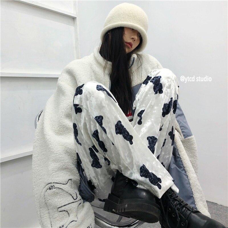 Largas-perna para Mulher Sakurada Kawashima Estilo Coreano Calças Retro Urso 2022 Novo Japonês Preguiçoso Veludo Reto Ins