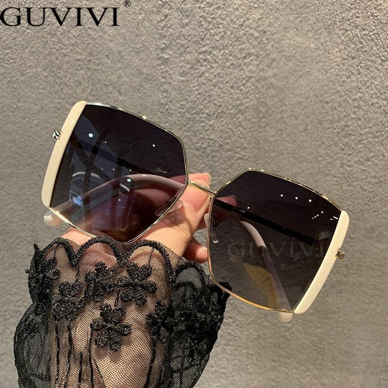Women Oversized Big Frame Square Sunglasses Retro Fashion Metal Oval Eyeglasses Sunscreen Glasses Co