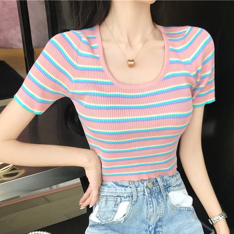 Lucyever Kawaii verano de las mujeres de punto T Camisa de rayas Rosa Slim Collar niñas Corp superior pantalón corto Casual de manga larga dama camisetas