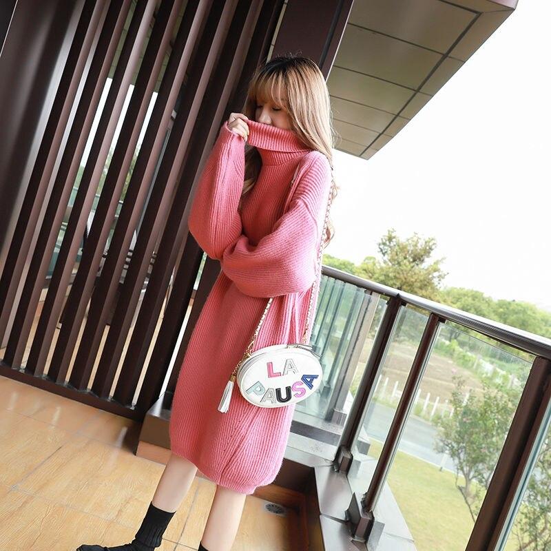 Mujeres 2020 Otoño Invierno de gran tamaño de punto vestido suéter femenino de manga larga Casual elegante caliente cuello de tortuga Vestidos G781