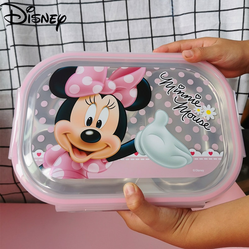 Original Disney tableware children's baby sealed leak-proof student 3 grid plate 304 stainless steel insulated lunch box