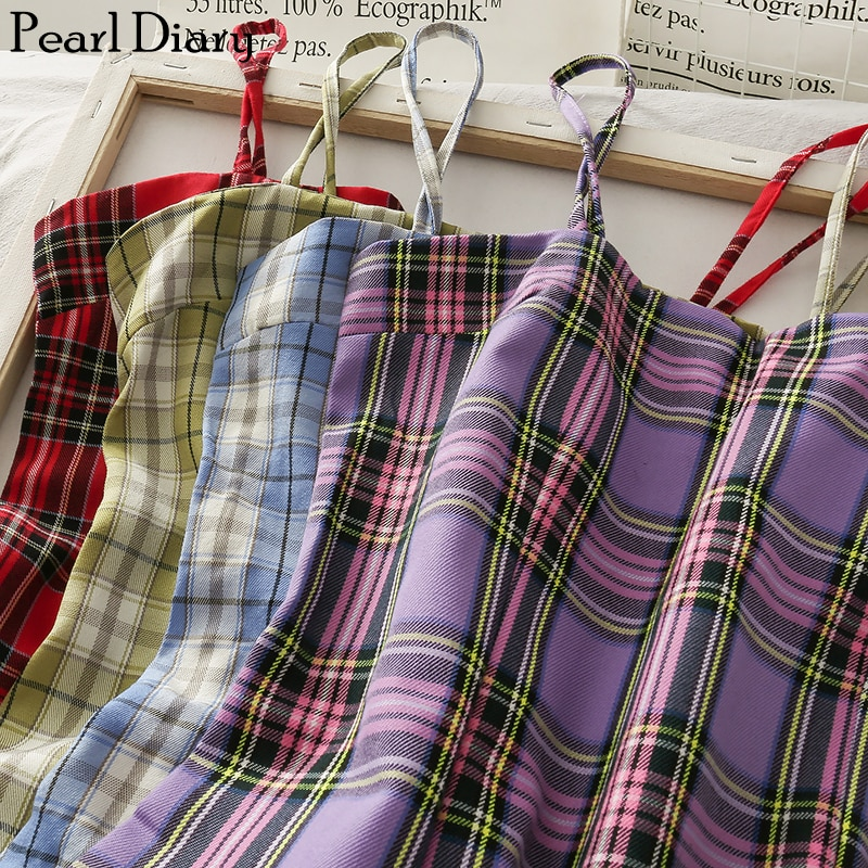 Pearl Diary Women Spaghetti Vintage Plaid Dress Summer Slash Neck Casual Lattice Cami Dress Sleeveless Going Out Plaid Dress retro cut out plaid fit and flare dress