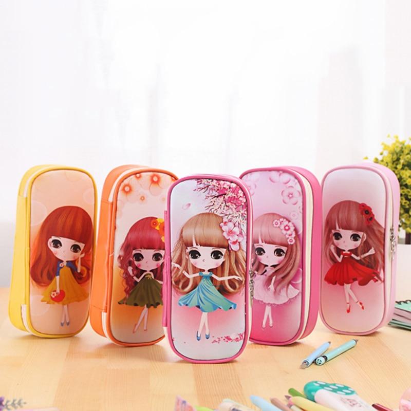 Caja de lápiz de cuero PU grande caja de cuero para bolígrafo bolsa de maquillaje grande para niñas regalo PU etui Oficina suministros de viaje escolar