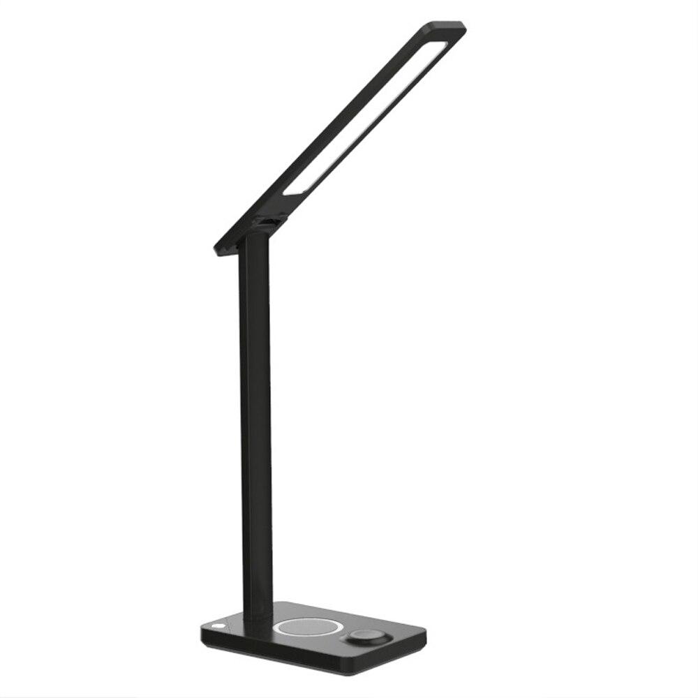Lámpara de escritorio LED de 5W de carga inalámbrica de protección ocular luz nocturna para móvil/reloj de carga de rotación de 180 grados lámpara de mesa de lectura