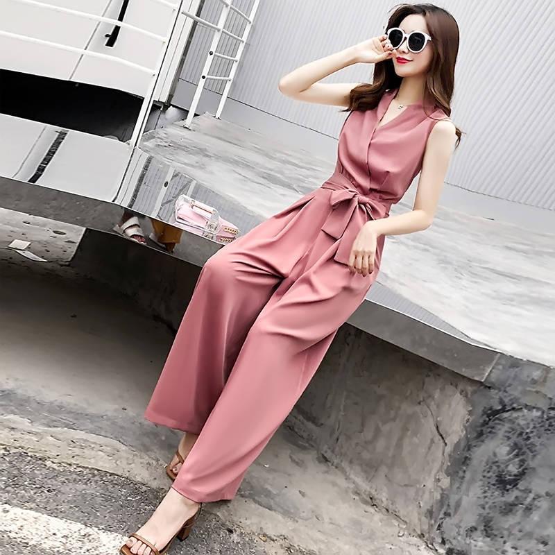 Mono para mujer, verano 2020, escote en V, sin mangas, elegante, informal, ajustado, pantalones femeninos, Color sólido, pantalones largos, monos L42