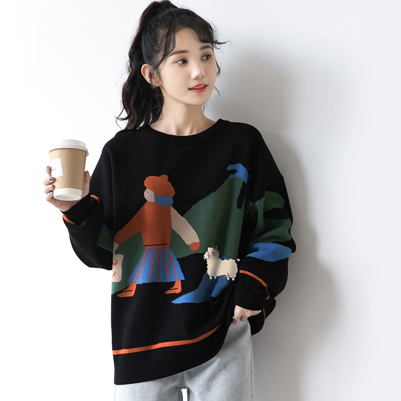 2021 New Lazy Wind Loose Pullover Outer Wear Fashionable Long Sleeve Spring and Autumn Black Knitted