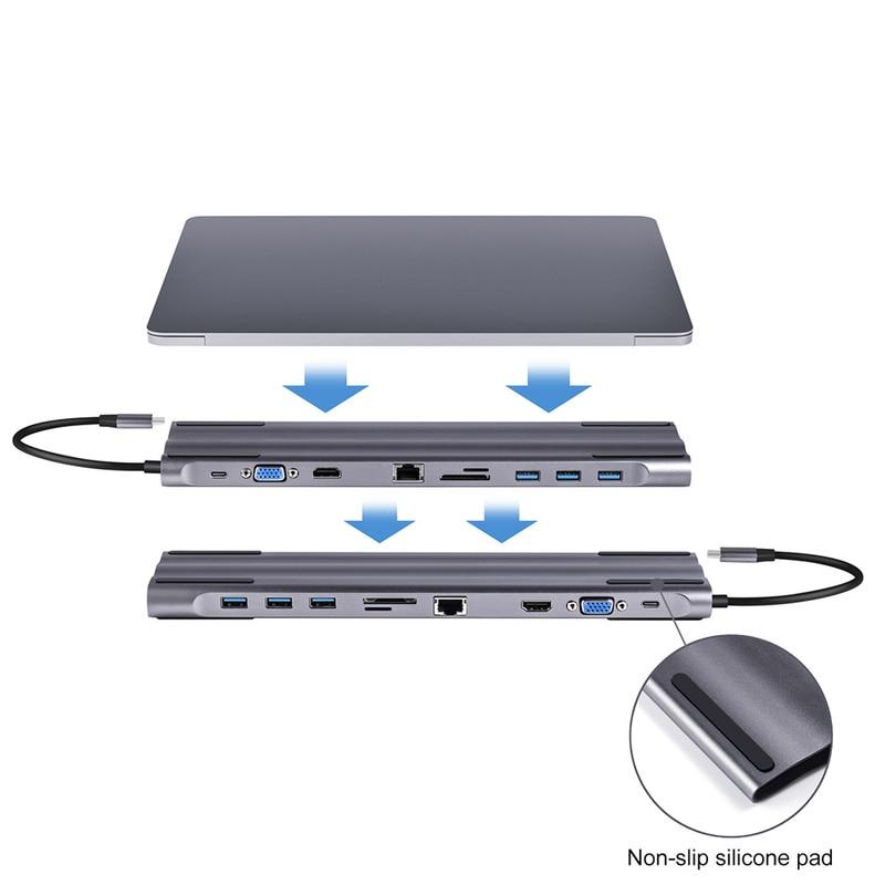 USB C HUB Type C to Multi USB 3.0 HDMI VGA RJ45 SD Card Reader for MacBook Pro Adapter USB-C 3.0 Splitter Port USB-C HUB