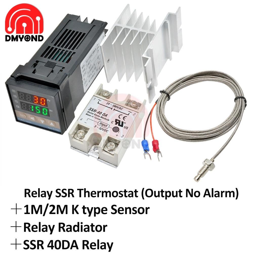New REX-C100 Digital PID Temperature Controller REX C100 Thermostat + 40DA SSR Relay+K Type Thermocouple 1M 2M Probe RKC Sensor rex c100 digital rkc pid thermostat temperature controller digital 40a ssr relay k thermocouple probe heat sink