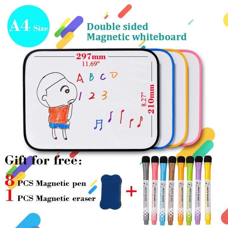 A4 Size Kid Drawing Board Double-sided Writing Magnetic WhiteBoard Dry Erase Board Small Blackboard Bulletin Board Home School wood figurines easel racks double sided magnetic small blackboard brackets baby painting board wooden drawing educational toys