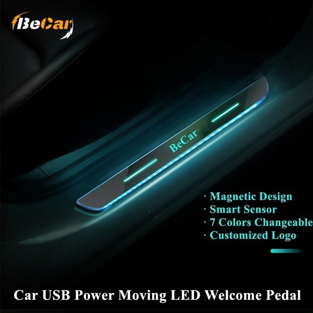 4PCS Acrylic USB Power Moving LED Welcome Pedal Car Scuff Plate Pedal Door Sill Pathway Light For AMG/LADA For Porsche For Lexus