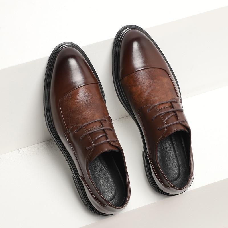 Oxford Mens Dress Shoes Formal Business Lace-up Full Grain Leather Minimalist Shoes for Men  men dress shoes