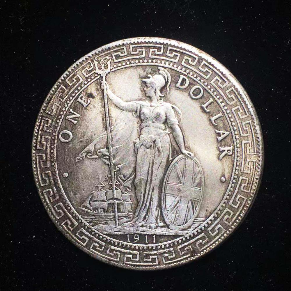 1911 британская китайская Серебряная монета Гонконга, медаль для монет, памятные монеты, коллекционные предметы, волшебная монета, рождестве...