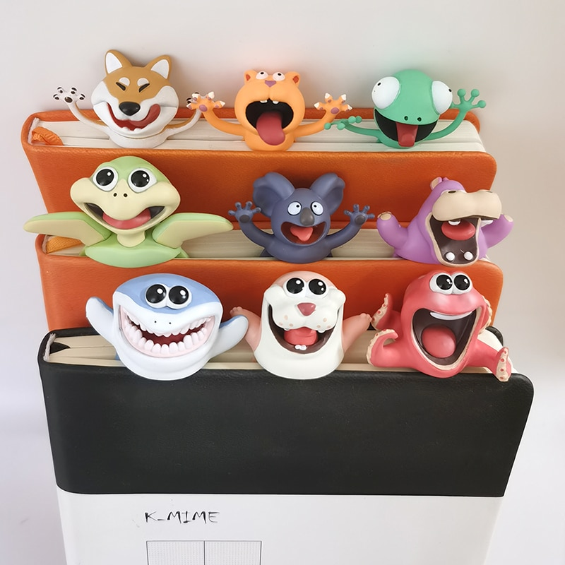 Funny 3D Animal Stereo Bookmarks as Reading School Stationery Gift Shark Panda Koala Book Marker Distributor Price