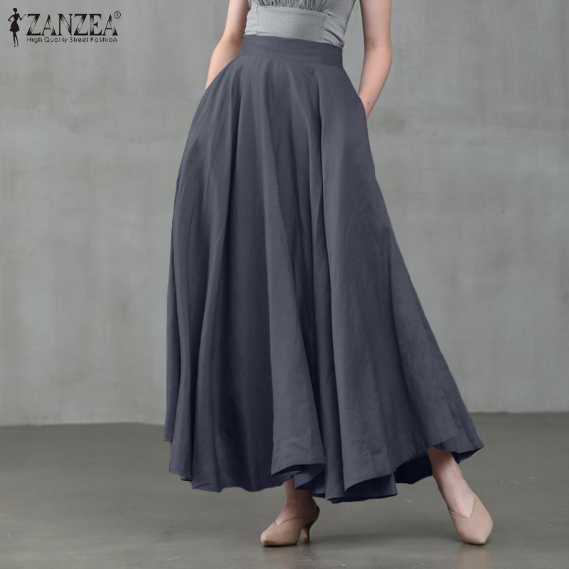 ZANZEA Elegant Women High Waist Solid Skirts Summer Spring Casual Long Skirt Jupe Female A-line Party Faldas Saia Streetwear 5XL beach maxi long skirt zanzea summer zipper skirts women elegant solid skirts bohemian skirt jupe female faldas saia oversized