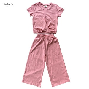 children's sets for girls casual o-neck solid cottn kids girl suit summer pullover girl short + pants 2 pcs 4 6 8 10 12  14 year