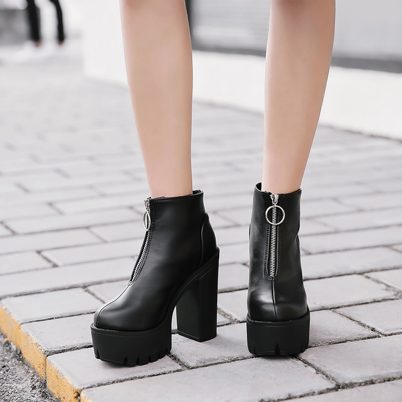 YMECHIC 2019 New Black Gothic Punk Platform Boots Women Winter Shoes Block Super High Heels Front Zipper Ladies Goth Ankle Boots