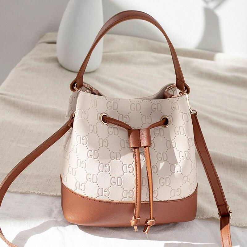 Bucket Bag Women's Handbag Luxury Style 2021Fashion Portable Shoulder Bag Contrasting Color All-match Lady Messenger Bag