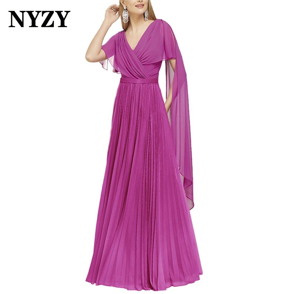 NYZY-فستان سهرة شيفون M354 ، فستان سهرة أنيق ، ياقة على شكل v ، لأم العروس ، فوشيا ، ضيف الزفاف ، 2021