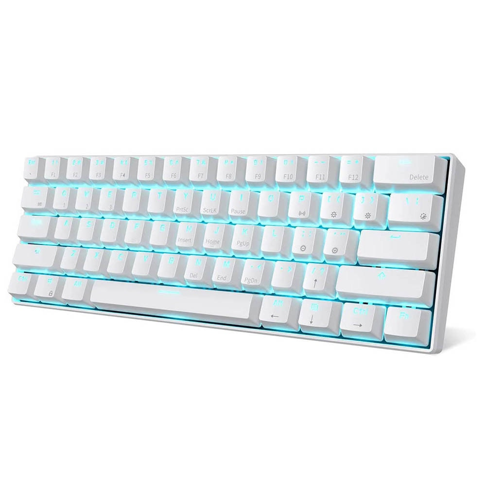 RK61 المزدوج وضع لوحة المفاتيح الخلفية الزرقاء 61 مفتاح لوحة مفاتيح ميكانيكية صغيرة للاعبين الهاتف/قرص أبيض مع مفاتيح Gateron الأحمر