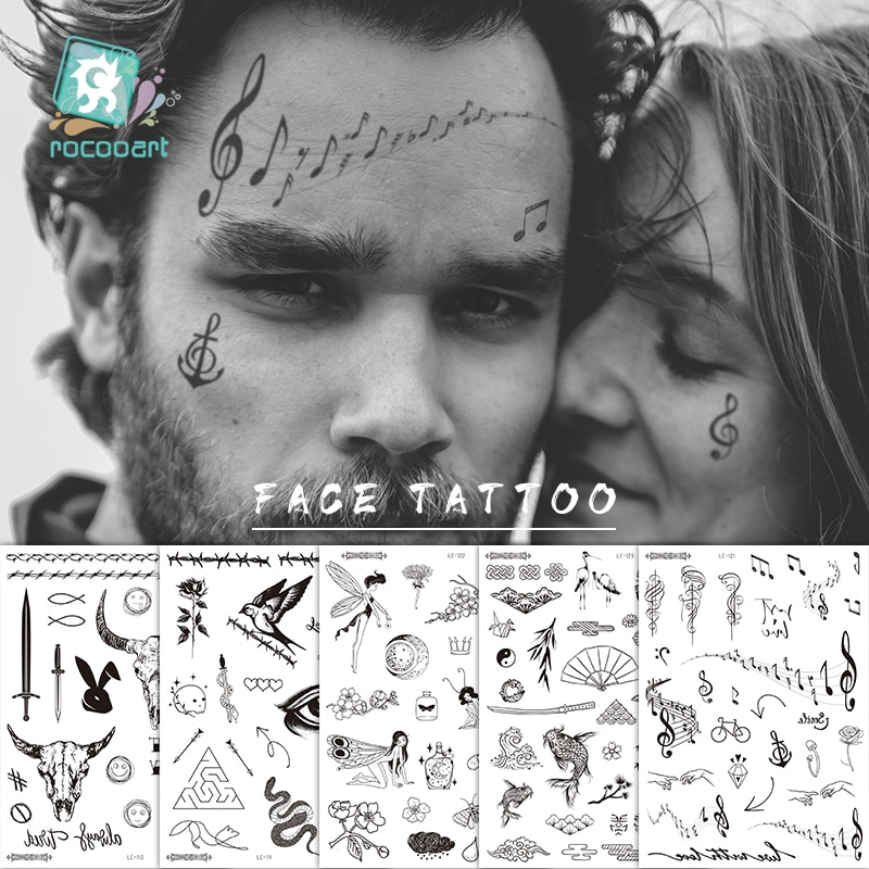 Gran oferta tatuaje Malone cabeza de toro cara pegatina cuello mano espalda diseño fresco arte corporal tatuaje temporal espada letra tatuaje