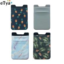 ETya femmes hommes élastique porte-cartes de téléphone portable autocollant adhésif crédit affaires Bus carte didentité portefeuille sac à main poche sacs pochette
