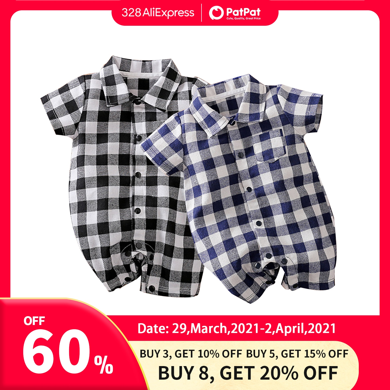 PatPat 2021 Hot Sale Spring Autumn Cotton Casual classic Plaid Collar Rompers One Pieces  Jumpsuit Baby Clothing Two Colors